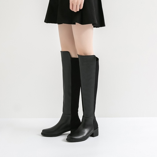 Patchwork Block Heel Plain Black Knee High Boots for Women