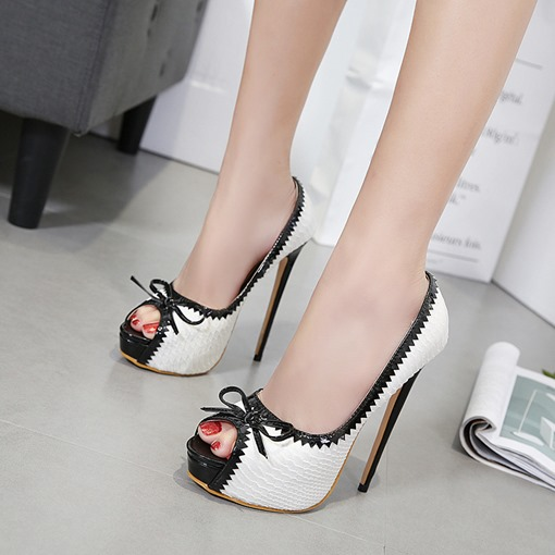 Peep Toe Bow Platform High Heel Pumps for Women
