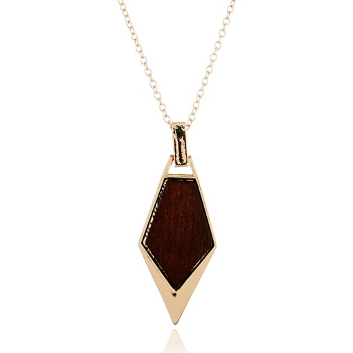 Simple Wood Alloy Overgild Necklace