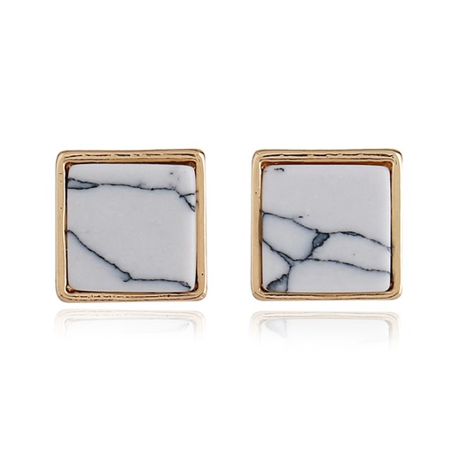 Square Marbling Alloy Simple Earrings