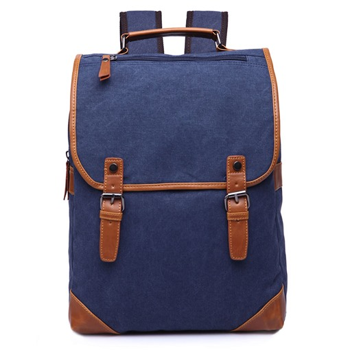 Preppy Chic Solid Color Canvas Backpack