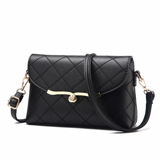 Well Match Quilted Lining Plain Cross Body Bag