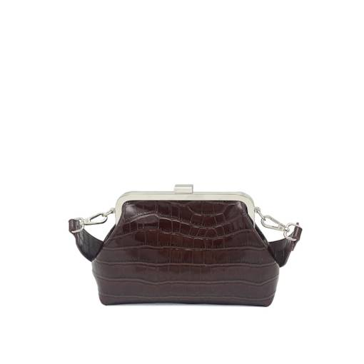 Glossy Croco-Embossed Cross Body Bag