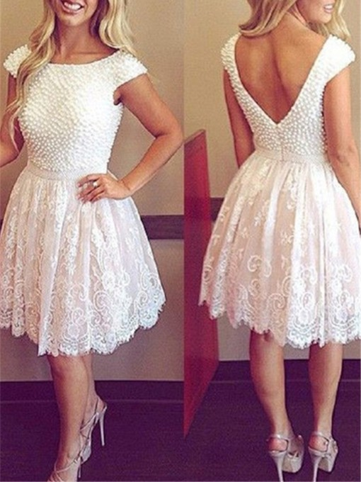 Cap Sleeve Pearls Lace Cocktail Homecoming Dress