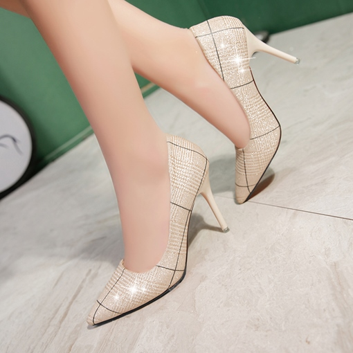 Print Plaid Pointed Toe High Heels for Women