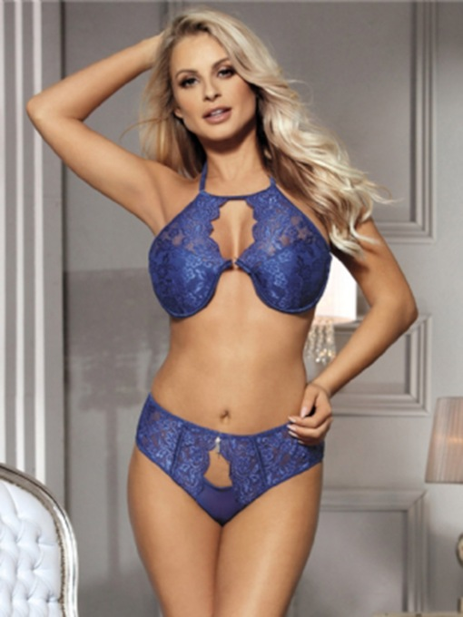 Halter Lace Bra Set with Bra Pad