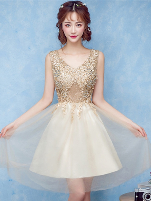 V-Neck Appliques Beading Rhinestone Short Homecoming Dress