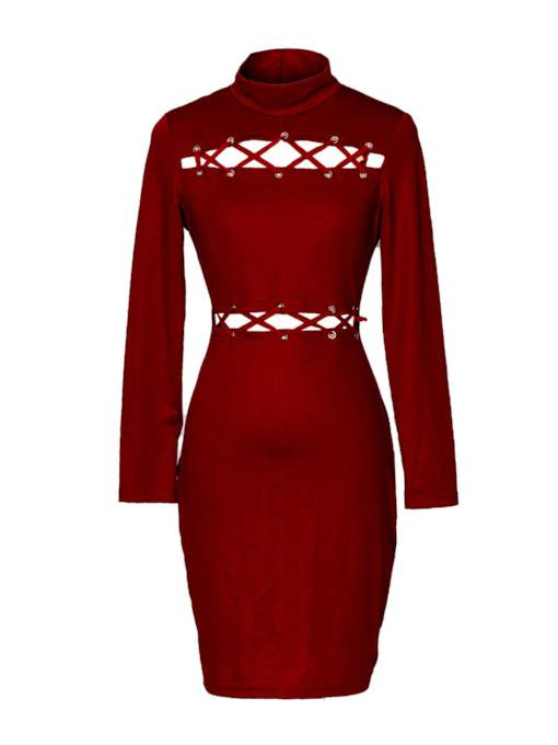 Turtle Neck Lace up Women's Bodycon Dress