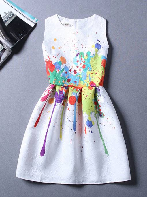Graffiti Pattern White Women's Day Dress