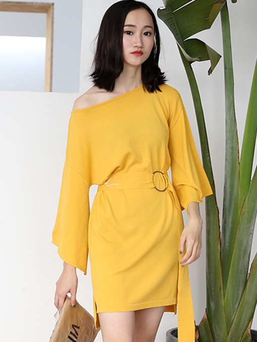 Yellow Buckled Women's Day Dress