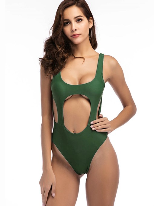 Sexy Plain Hollow Backless Monokini