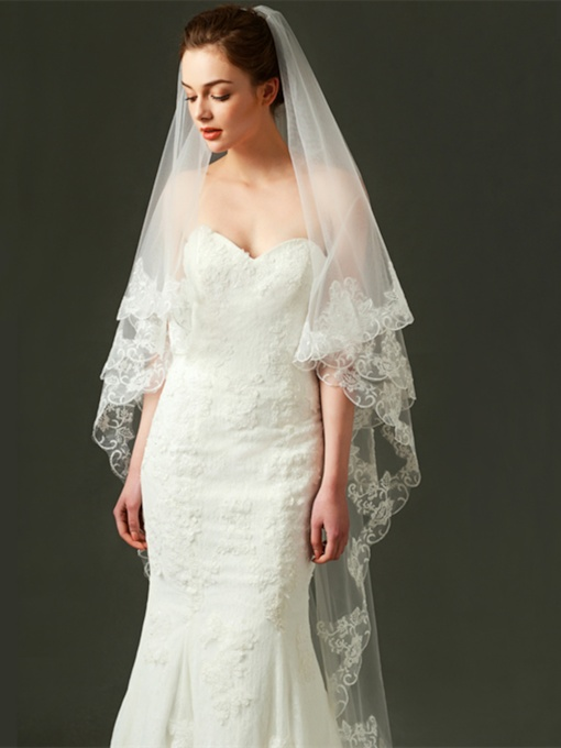 Appliques Edge Long Wedding Veil