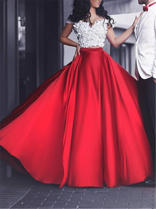 Two-Pieces A-Line Off-the-shoulder Flowers Prom Dress
