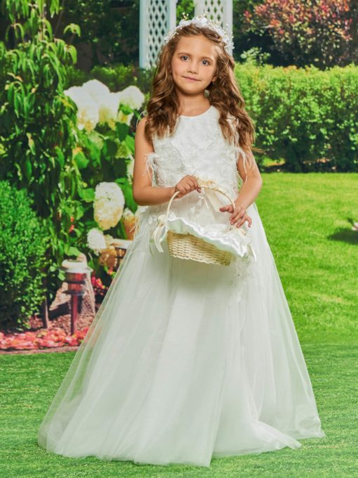 Straps A-Line Appliques Flower Girl Dress