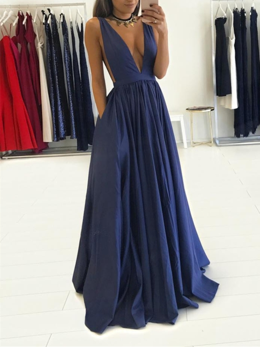 A-Line V-Neck Sleeveless Sweep Train Evening Dress