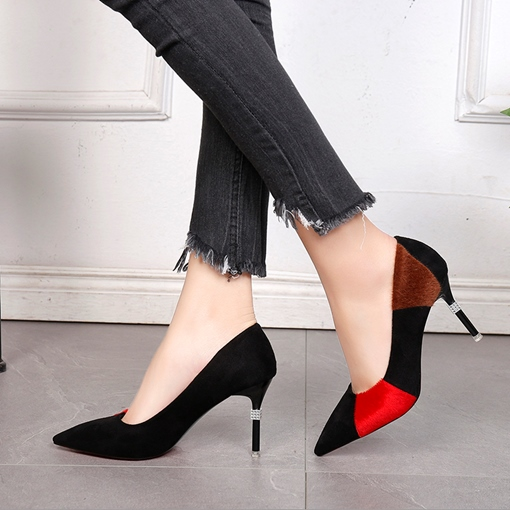 Suede Contrast Color High Heel Shoes for Women