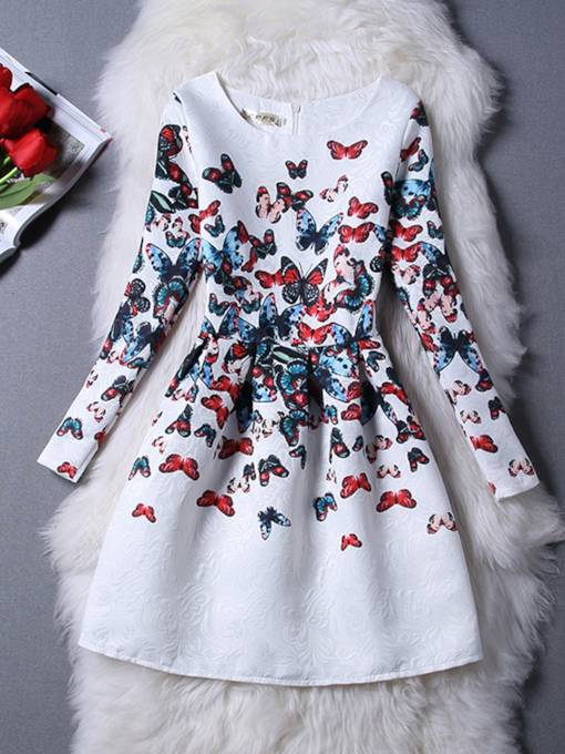 Long Sleeve Butterfly Pattern Women's Day Dress