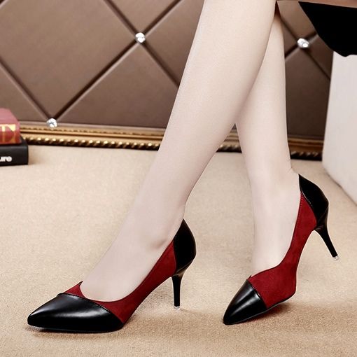 Patchwork Color Block Pointed Toe Women's Pumps