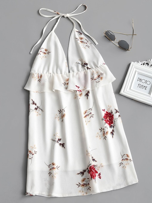 White Halter Floral Women's Sexy Dress