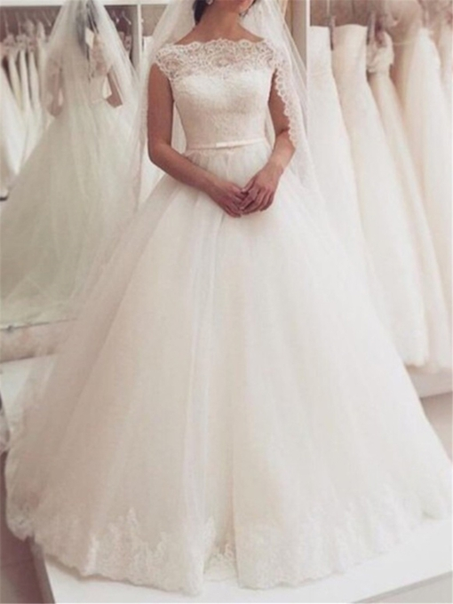 Cap Sleeve Lace Appliques Wedding Dress