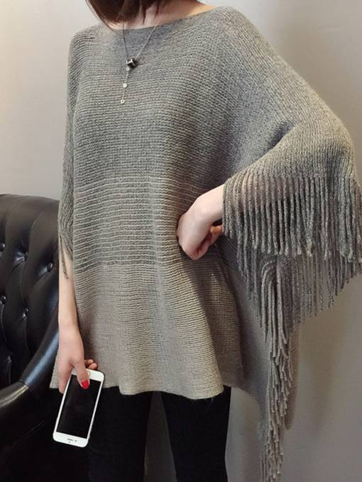 Pullover Sweater Tassel Women's Knitted Cape