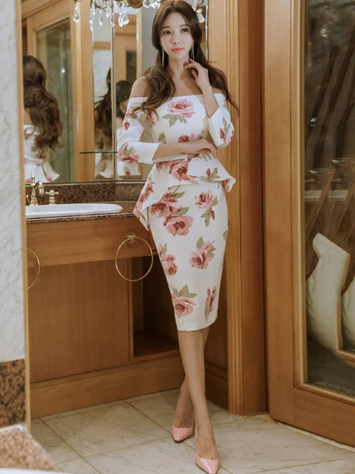 Off Shoulder Printing White Women's Bodycon Dress