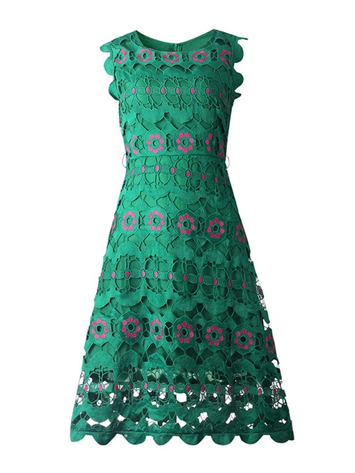 Green Sleeveless Women's Lace Dress