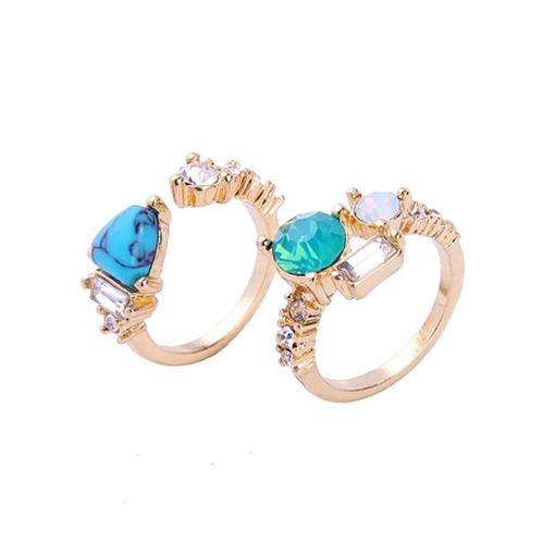 Synthetic Stones Overgild Alloy Ring
