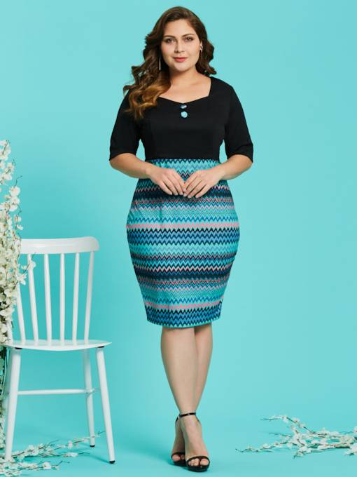 Plus Size Square Neck Half Sleeve Women's Bodycon Dress
