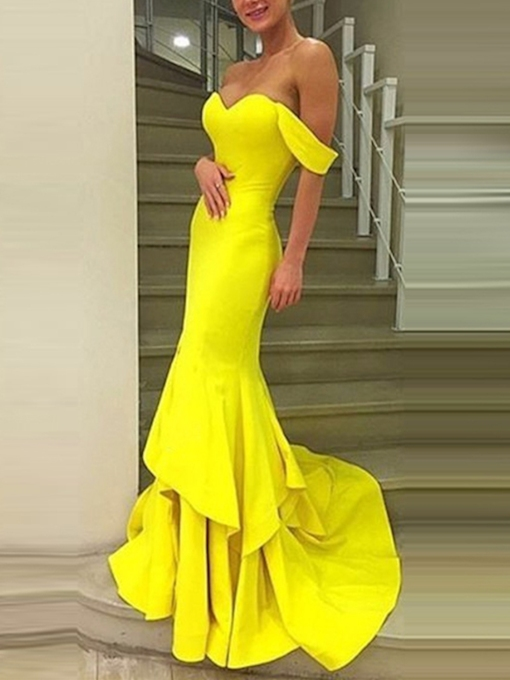 Off-the-Shoulder Tiered Mermaid Evening Dress