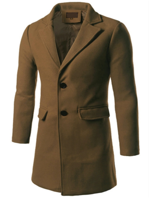 Double-Button Notched Collar Men's Long-Pattern Coat