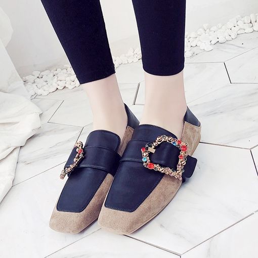 Square Toe Patchwork Buckle Colorful Rhinestone Flats for Women