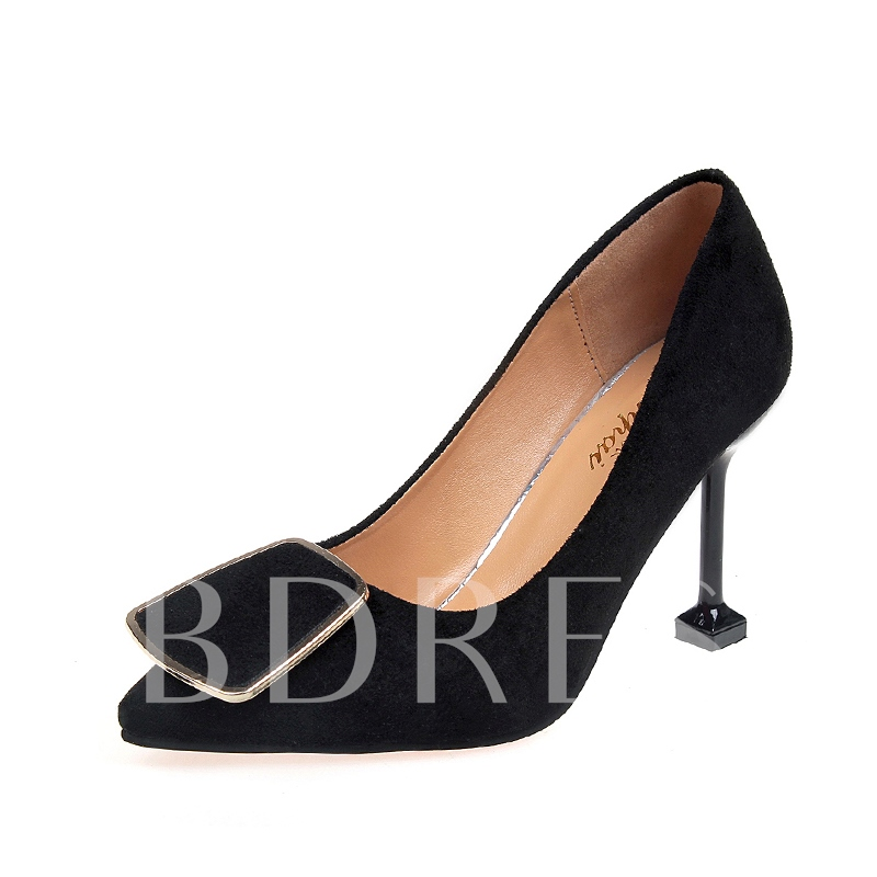 Buy Suede Pointed Toe Spool Heel Women's Plain Pumps, Spring,Summer,Fall, 13147187 for $19.99 in TBDress store