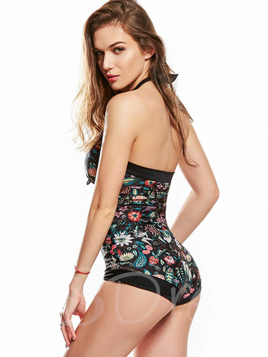 V-Neck Floral Halter One-Piece Swimsuit