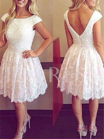 Cap Sleeves Scoop Neck A-Line Beading Short Cocktail Dress