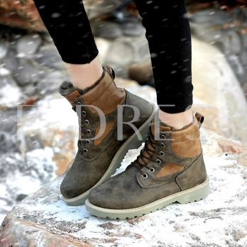 Lace UP Artificial Wool Winter Warm Ankle Boots for Men