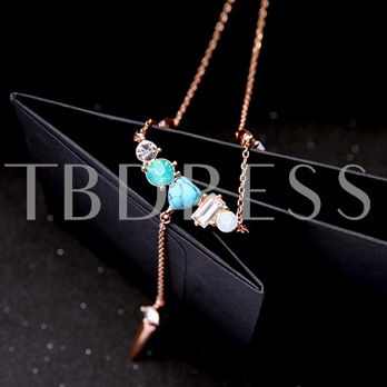 Imitation Turquoise Alloy Retro Necklace