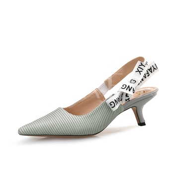 Stripe Cloth Slingback Strap Slip On Pumps for Women