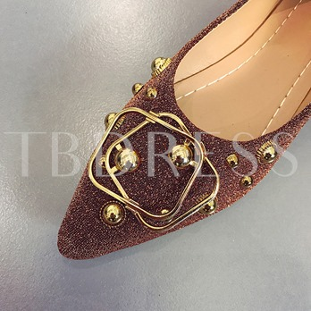 Pointed Toe Rivet Sequin Women's Glitter Flat Shoes
