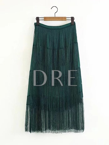 A Line High Waist Mid-Calf Tassel Women's Skirt