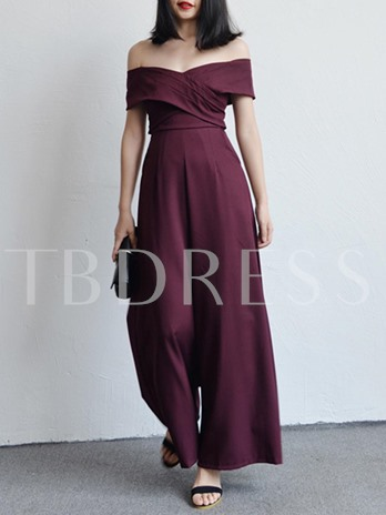 Plain High Waist Backless Women's Jumpsuit
