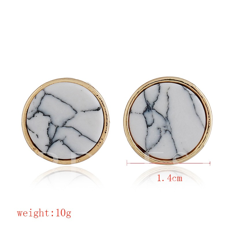 Marbling Round Overgild Alloy Earrings