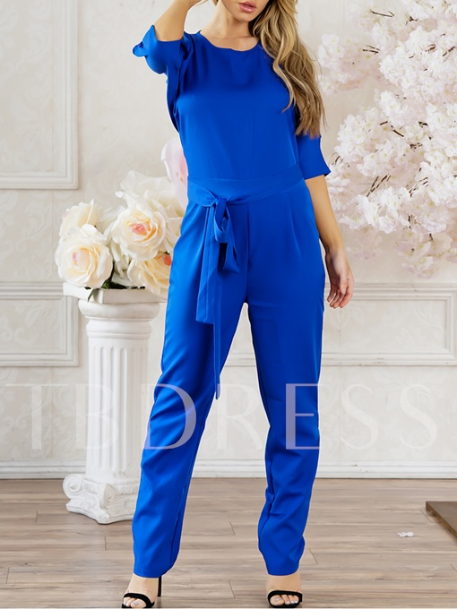 Plain Hollow Sashes Lace-Up Women's Jumpsuit