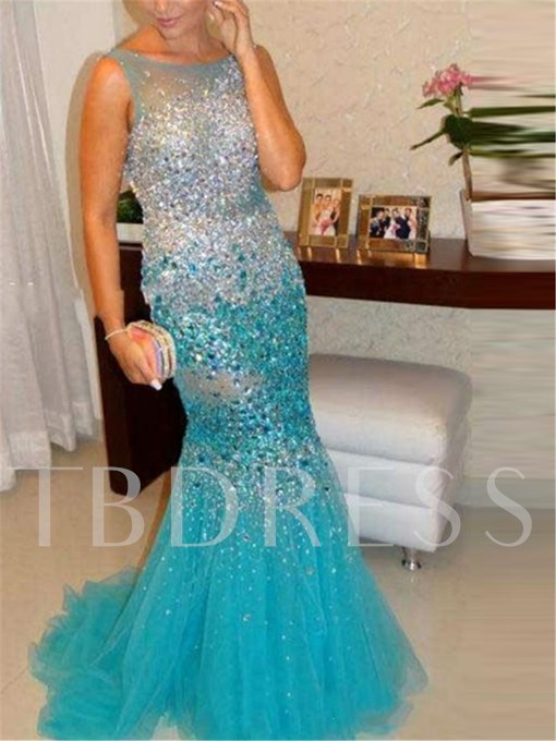 Sequins Trumpet Backless Scoop Neck Beading Court Train Evening Dress