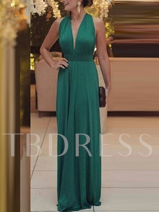 A-Line Halter Pleats Sleeveless Floor-Length Evening Dress