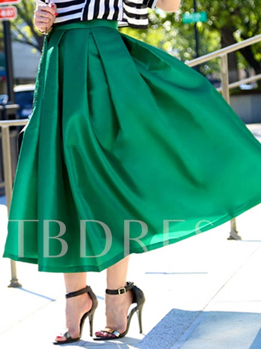 Solid Color A-Line Pleated Women's Skirt