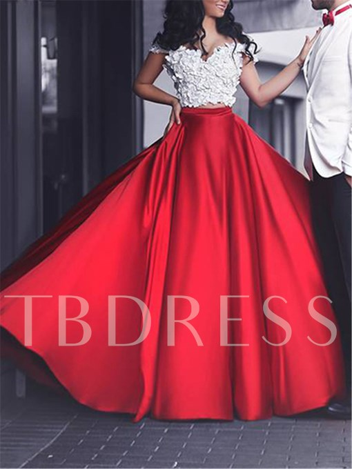 Two-Pieces A-Line Off-the-shoulder Flowers Court Train Prom Dress