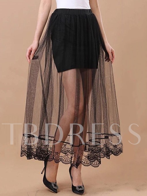A Line Mesh See-Through Women's Skirt
