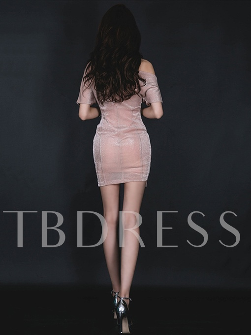 One Shoulder Pink Women's Bodycon Dress
