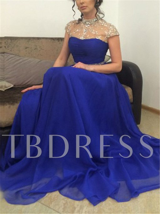 A-Line High Neck Beading Sequins Brush Train Evening Dress